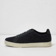 River Island Mens Dark Grey wool blend lace-up trainers
