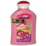 Sanosan - Kids Sampon si gel de dus cu aroma de zmeura 200 ml