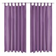 vidaXL Mikro Satenske Zavjese 2 kom s Tregerima 140x245 cm Lila
