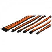 Set cabluri prelungitoare Thermaltake TtMod Sleeve Cable Kit, cleme incluse, 300mm, Black / Orange