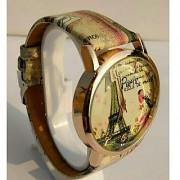 Women Wrist Watch (Paris Eiffel Tower Print Golden Round Dial)
