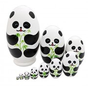 10 Pieces Cute Egg Shape Handmade Wooden Russian Nesting Dolls for Kids Toy Birthday Gift (Giant Panda Bear)