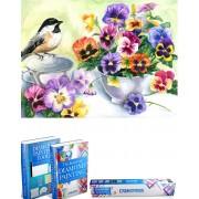 Crafterman™ Diamond Painting Pakket Volwassenen - Vogel met bloemen (Viooltjes) - 50x40cm - volledige bedekking - vierkante steentjes - 43 verschillende kleuren - hobby pakket - Met tijdelijk 2 E-Books