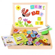 156 Pieces Wooden Educational Toy, Seacue Double Sided Drawing Easel Dry Erase Board Puzzles Animal Letters Number Games, Learning & Educational Game Toy for Kids