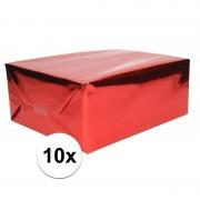 Shoppartners 10x Folie kadopapier rood metallic