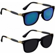Eyevy Wayfarer, Rectangular, Over-sized, Sports, Retro Square, Wrap-around Sunglasses(Blue, Black, Multicolor)