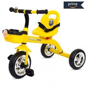 Baybee Speed Racing Tricycle Kid's Trike with The Smart Plug and Play Baby Tricycle/Bicycle with Seat Belt Kid's Ride on Outdoor | Suitable for Boys & Girls-(1 to 5 Years) Yellow
