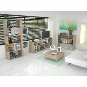 Combo TuHome Rack TV + Biblioteca + Arrimo + Mesa Centro - Rovere