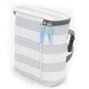 Bula Baby Insulated 2 Bottle Tote Bags Keep Baby Bottles Warm or Cool - Grey Stripe