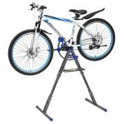 [pro.tec]® Soporte caballete de reparación para bicicletas bici ajustable (66x33cm) - gris / azul