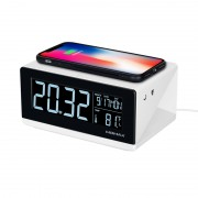 MOMAX Q.clock Alarm Clock Time Date, Temperature Display with Wireless Charging Pad for Bedroom Office Home - US Plug