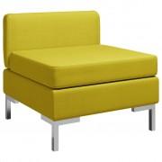 vidaXL Модулен среден диван с възглавница, текстил, жълт