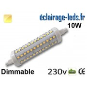 Ampoule LED R7S dimmable 10w 118mm blanc chaud 230v ref r7s-07
