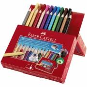 Set Cadou 12 Creioane Colorate Jumbo Grip + 10 Carioci Grip Faber-Castell