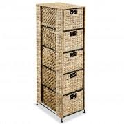 vidaXL Скрин с 5 чекмеджета-кошници, 25,5x37x100 см, воден хиацинт