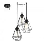 LED lámpa függeszték , mennyezeti , 3 x E27 , acél , fekete , EGLO , TARBES , 94191