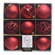 Geen Rode kerstversiering kerstballen set van kunststof 9 stuks