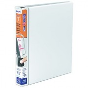 QuickFit 1-Inch PRO Heavy-Duty Single Touch View Binder Locking D-Ring White (90010)