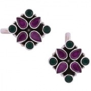 PeenZone 92.5 Silver Emerald & Ruby Toe Rings For Women & Girls