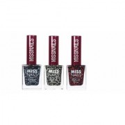 Miss Nails Set Of 03 Nail Polish Multicolor Glitter 9 mL