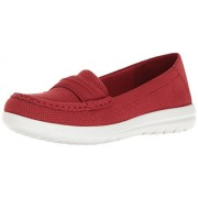 Clarks Women's Jocolin Maye Slip-on Loafer, Red Perforated Microfiber, 9. 5 M US