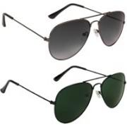 Voyage Aviator Sunglasses(Black, Violet, Green)