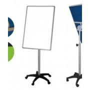 Бяла дъска на стойка с колелца 60х90 см