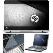 Finearts Laptop Skin 15.6 Inch With Key Guard & Screen Protector - Hp Logog On Black Texture