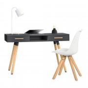 [en.casa] Escritorio retro (75x120x45cm) gris lacado mate cajón con silla blanca