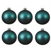 Decoris 6x Turquoise blauwe kerstballen 6 cm matte glas kerstversiering