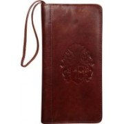 Kan New Year Gift-Premium Quality Hunter Leather Travel Document Holder/Cheque Book Holder with 3 Passports(Maroon)