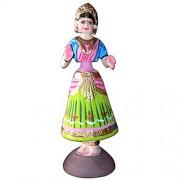 AMSHOPPEE National Power Link Sunsumo Thanjavur Thalayatti Thanjor Doll (Green and Pink)