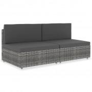 vidaXL Двуместен модулен диван, полиратан, сив