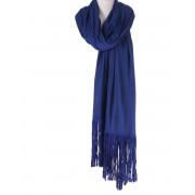 Kobaltblauwe wol/zijde sjaal met suède franjes