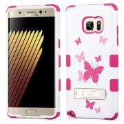 Funda Protector Triple Layer Uso Rudo Samsung Galaxy Note 7 Blanco Mariposas c/pie metalico