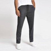 River Island Mens Grey stripe drawstring skinny trousers (28S)