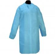 Bata Desechable de Polipropileno Cor Azul sem Bolsos com Fechamento de Velcro (50 unidades)