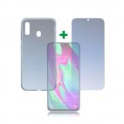 4smarts 360° Protection Set Limited Cover - тънък силиконов кейс и стъклено защитно покритие за дисплея на Samsung Galaxy A40 (прозрачен)