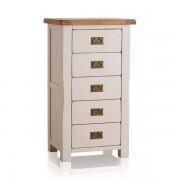 Oak Furnitureland Rustic Solid Oak & Painted Chest of Drawers - Tallboy - Kemble Range - Oak Furnitureland