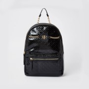river island Black patent monogram backpack (One Size)