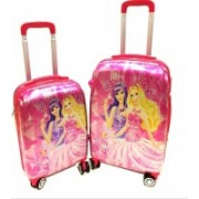 Kris toy Kris Set of 2 Bags 22 inch and 18 inches Both Side Printed Barbie Trolley Bag for kids Expandable Check-in Luggage - 23 inch(Pink)
