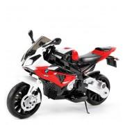 Motocicletă electrică BMW S 1000 RR, Licență, roți moi, 12 V, EVA, cadru metalic, roți auxiliare, roșu
