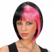 Merkloos Zwart roze hippie boblijn pruiken