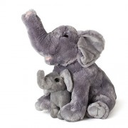 "Mom And Baby Elephants Plush Toys 2 Stuffed Elephants 11"" and 5.5"" By Hands On Learning - Super Soft Stuffed Mom and Calf - Stuffed Animals - Animal Themed Party Accessory - Educational Toy"