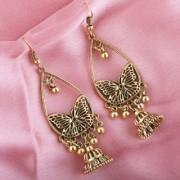 Silver Shine Butterfly Design Unique Shape Party Wear fancy Drop Earring For Girls and Women Jewellery
