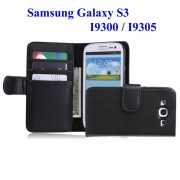 Samsung Galaxy S3 Iii I9300 I9305 4g : Etui Portefeuille Housse Coque Pochette En Cuir Pu Format Livre Horizontale Emplacement Cartes Couleur Noir + Film D'écran
