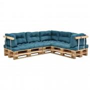 [en.casa]® Sofá de palés - europalés de 5 plazas con cojines - (turquesa) Set completo, incluidos apoyabrazos y respaldos - in/ outdoor