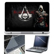 FineArts Laptop Skin Assasin Black Flag With Screen Guard and Key Protector - Size 15.6 inch