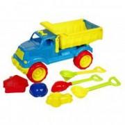 Set camion plastic albastru cu galben cu accesorii 60 cm 6 bucati