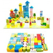 Emob 62 Pcs Colorful Wooden City Blocks Puzzle Learning Game For toddler (Multicolor)